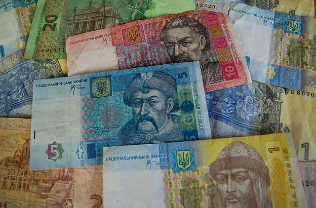 hřivny – barevné bankovky