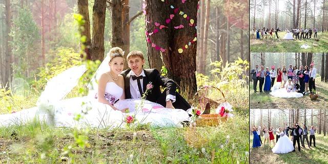 ženich a nevěsta pod stromem
