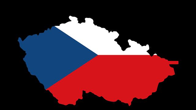Mapa České republiky v národních  barvách